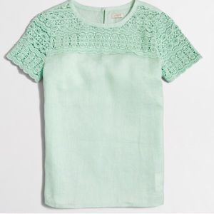 J.Crew Linen and Lace Mint Green Top-Size 4